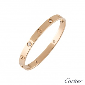 Cartier Rose Gold Half Diamond Love Bracelet Size 18 B6036018